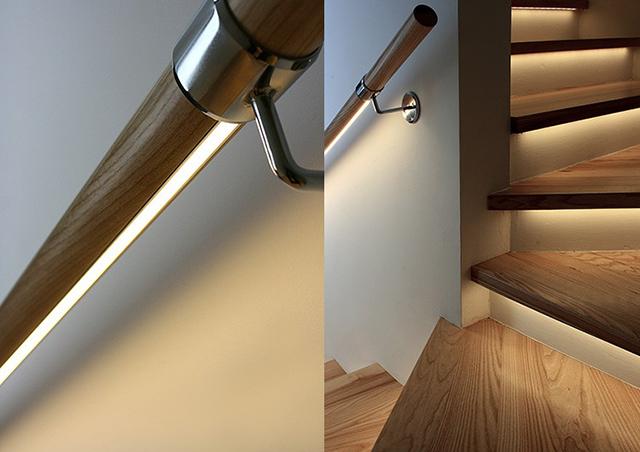 Thanh nhôm LED chiếu sáng tay vị cầu thang